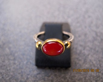 Coral Sterling Silver and 8 carats Gold Ring