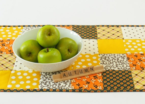 Gold, Orange Fall Quilted Patchwork Table Runner