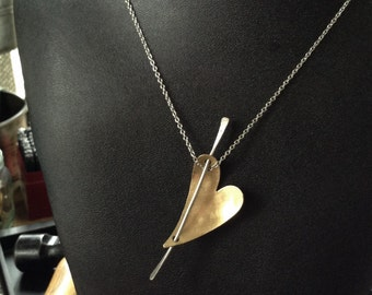 Brushed Brass Heart Pendant