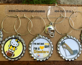 Set of 6 Pittsburgh Steelers Girl inspired wine glass charms for the wine lover in your life.... customize