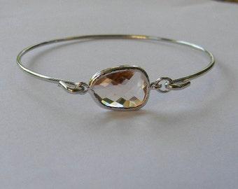 Bangle Bracelet / Peach Champagne Bracelet / Birthstone Bracelet / Bridesmaid Gift / Bridesmaid Jewelry / Bridesmaid Bracelet / Gift For Her