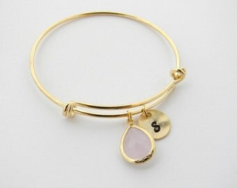 Personalized Bracelet, Bangle Bracelet, Initial Bracelet,  Adjustable Bangle, Birthstone Bracelet, Expandable Bracelet, Bridesmaid Jewelry