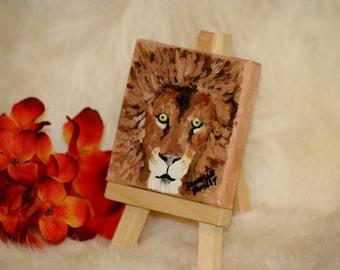 Miniature Canvas Lion Face Painting - Magnet