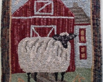 "Rug Hooking PATTERN, Annabelle the Wandering Sheep, 14"" x 18"", P107, Primitive Folk Art Sheep Design"