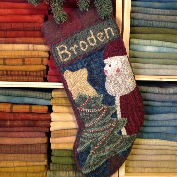 Rug Hooking PATTERN, Santa and Tree Stocking, J978, Christmas Stocking DIY, Primitive Rug Design