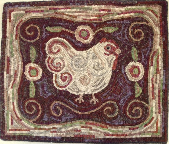 "Rug Hooking PATTERN,  Revised Spiral Chicken, 18"" x 22"", P101, Folk Art Chicken Design"