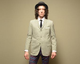 mens vintage sport coat 50s 60s light gray three button sport jacket 1950 1960 trad sport coat 38 38S slimfit slim Botany