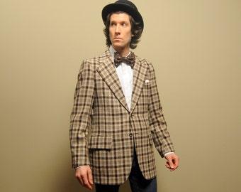mens vintage sport coat 70s plaid check sport jacket 1970s menswear plaid tweed blazer wide lapel brown tan blue 40 40L long