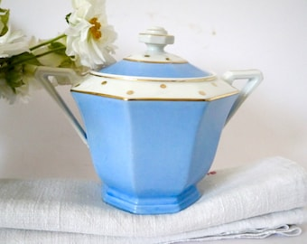 French Blue and White art deco Sugar Bowl