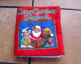 Merry Christmas Songbook Jingle Bells Quiet Soft Cloth Baby Toddler Story Book Handmade Ready to Read