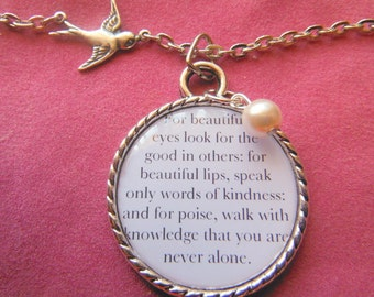 Audrey Hepburn Quote Look For the Good in Others  A Pendant Necklace