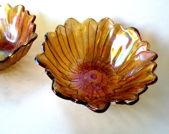 Carnival Glass Bowl Iridescent Marigold Color Indiana Lily Pons Sunflower Orange Fenton Bon Bon Bowl Vintage Carnival Glass Iridescent Glass