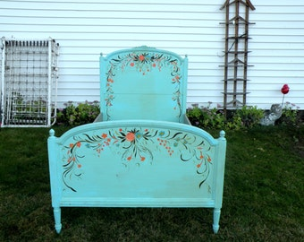 Turquoise Twin Bed Headboard Frame Upcycled Furniture Cottage Chic Distress Bed Girls Hand Painted Bed Set Floral- Shabby Chic Wood