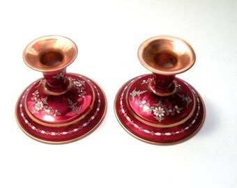 Vintage Candle Stick Holder Bohemian Style- Hand Engraved- Copper Metal Cranberry Color