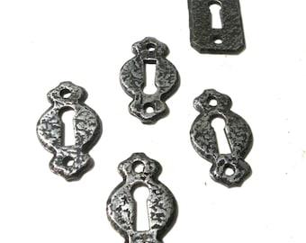 Key Hole Covers- Key Escutcheon Vintage Hardware Salvage GUNMETAL Escutcheon Jewelry Supplies