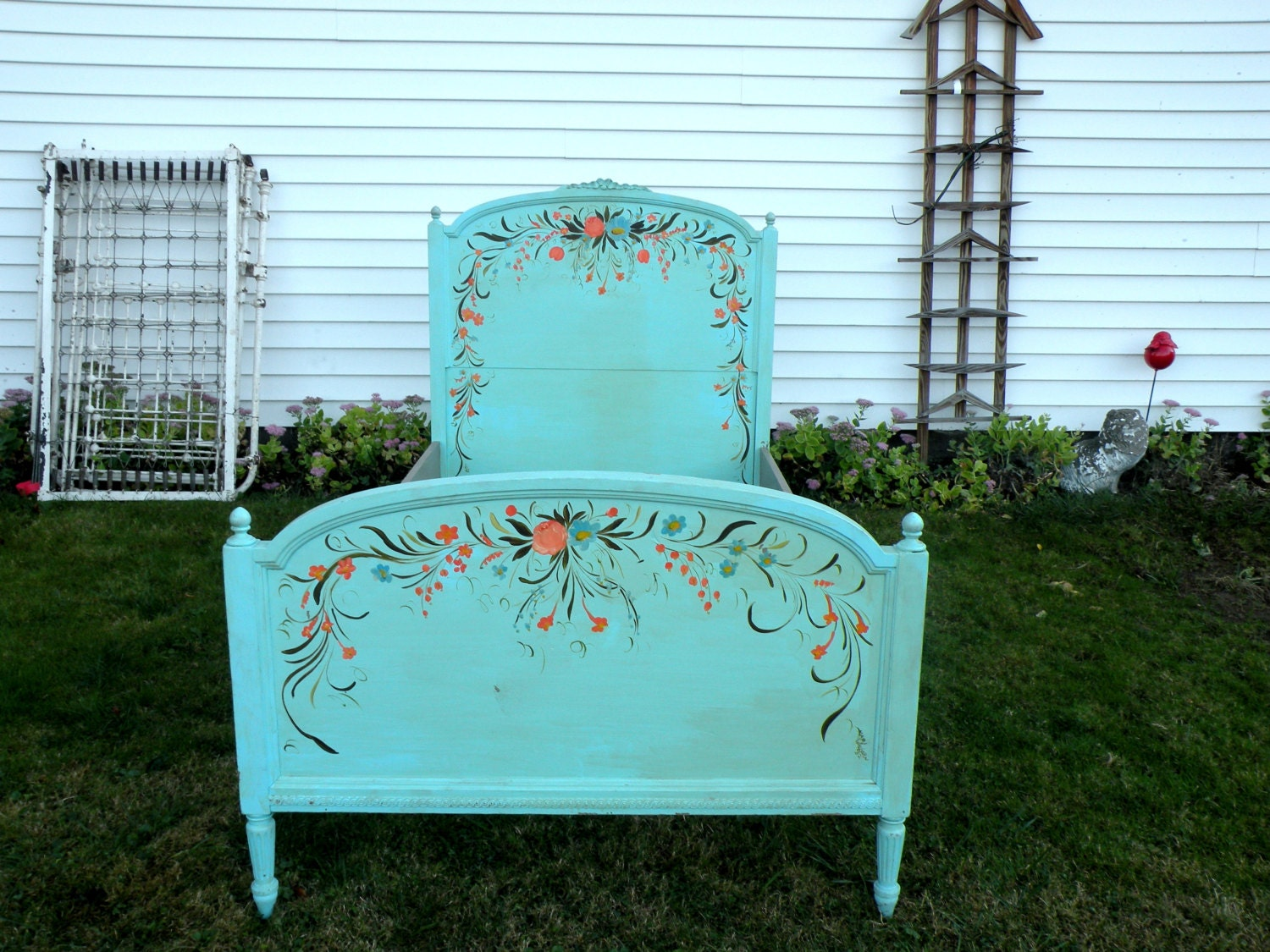 Turquoise twin bed headboard frame casual home style cottage for Turquoise bed frame