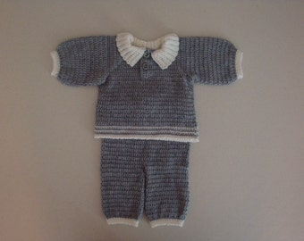 3 month Crochet Grey and White Sweater and Pant Outfit