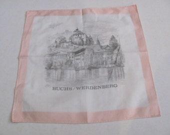 Hankie - Beautiful Souvenir Switzerland Werdenberg Cotton Vintage Hankie Handkerchief - New Unused