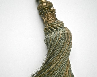 Vintage Olive Green Brown Drapery Chainette Tieback Curtain Rope Thread Cord Accessory Tassels Fringes Window Treatments Villa Collezione