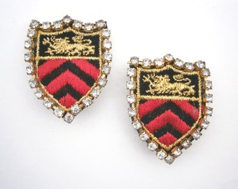 Vintage Military Emblem Earrings Statement Lion Crest Coat Of Arms Red Black Gold Embroidery Applique Badge Rhinestones Chevron Arrows