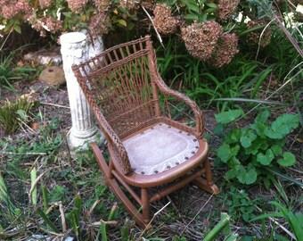 Vintage antique victorian childs wicker rocker wee little one secret garden 1800s porch decor