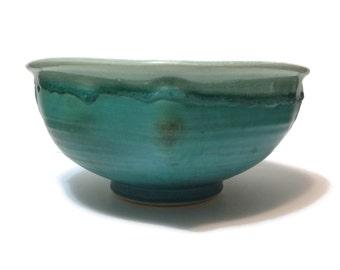 Vintage Studio Art Pottery centerpiece bowl turquoise blue craquelure signed Campbell