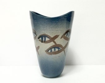 Vintage 1950s Franz Ferdinand Kriwanek studio pottery, early example, raised edge, abstract swimming fish design ombre blue
