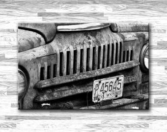 Large Wall Art, 48x32 Gallery Wrapped Canvas - Rusty Car Print - Man cave art, man decor, car decor, car art, automobile art, rusty truck