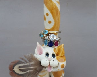 Ceramic cats, pottery cats, clay cats, ring holders, cute cats, stoneware cats, hand made cats, hand sculpted cats, Pencepets