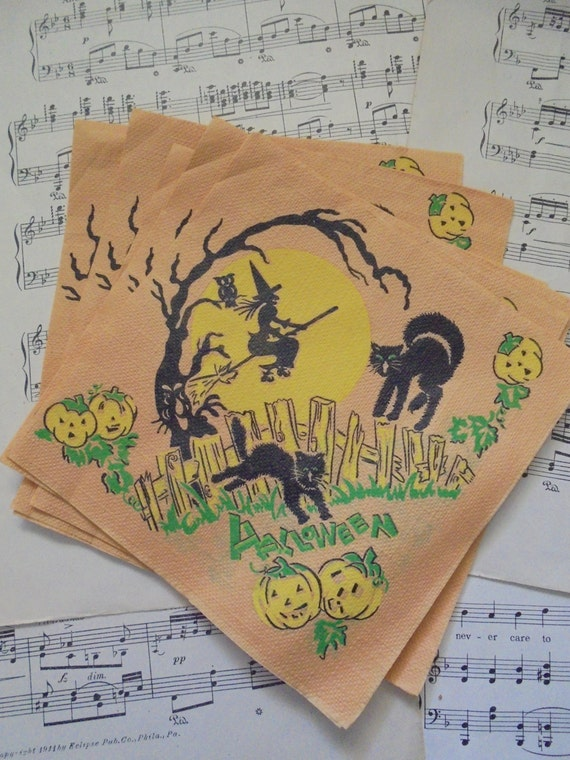 Cute vintage Halloween napkins set of 6
