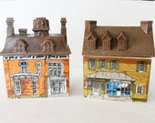 Enesco Ceramic Houses Kitchen Canisters Set of 2 Hard to Find Made in Japan 1980 Imports Kitchen Decor Victorian Signed Storage Organization