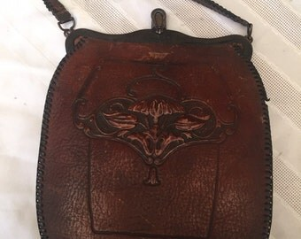 Vintage Arts and Crafts Tooled Leather Purse by Bosco 1920's Art Nouveau Handbag