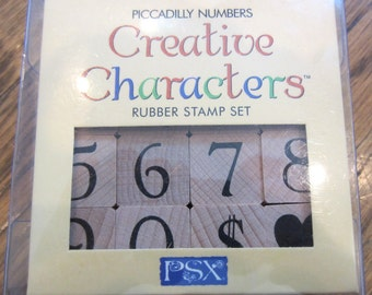 Rubber Stamp Psx Creative Characters Piccadilly Numbers Cash Sign Heart