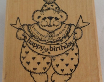 Imagine Thatg-545 Clown Teddy Bear Happy Birthday  Vintage Wooden Rubber Stamp