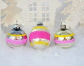 Vintage Striped Christmas Ornaments Teardrop Pink Silver Yellow Mica Shiny Brite Set of 3 Three 1950's