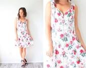 20% OFF BIRTHDAY SALE Vintage silky white rose floral dress // floral summer boho dress // mini summer floral slip dress // floral mini dres