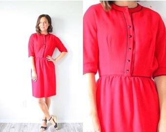 """20% OFF HALLOWEEN SALE Vintage red mod """"Lanz original dress // Red long sleeve modest dress // heart button dress // 60's Small dress // chr"""
