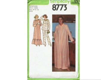 Nightgown Pajamas & Robe Misses Size 14 16 or 18 20 Bust 36 38 or 40 42 1970s UNCUT Sewing Pattern Simplicity 8773