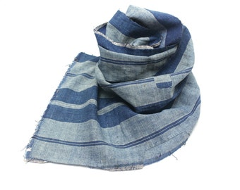 Japanese Artisan Hand Loomed Ikat. Vintage Cotton Scarf. Striped Indigo Folk Textile Supply Fabric (Ref: 1484)