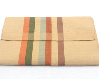 Japanese Obi. Striped Woven Silk. Red Blue Green Purple Brown Warm Fall Shades (Ref: 1496)