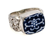 Size 11 Broken China Jewelry Blue Willow Sterling Ring