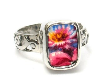 Size 9.5 Broken China Jewelry Grimwades Summertime Chintz Flowers Sterling Ring