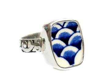Size 8 Broken China Jewelry Myott Finlandia Blue Scallops Sterling Ring