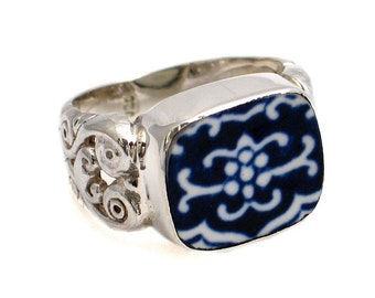 Size 10 Broken China Jewelry Blue Willow Sterling Ring