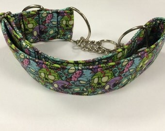 Zombie Pile Martingale or Adjustable Dog Collar Size M, L or XL