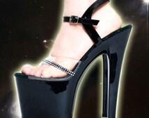 90s Pleaser Clear Rhinestone Strap Black Platform Stripper Heel Sandals 9.5