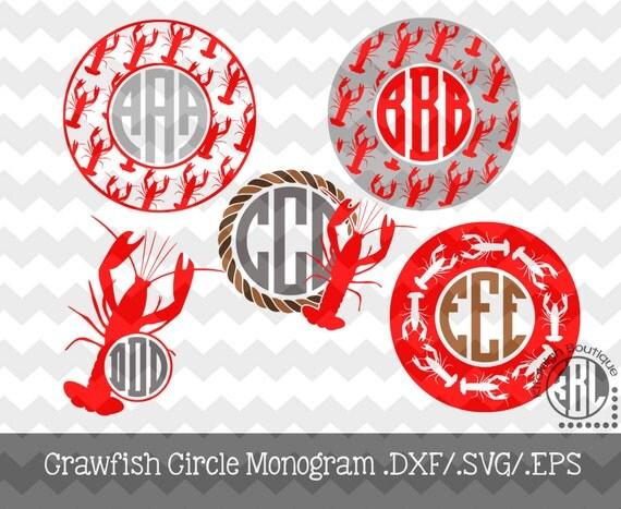 Crawfish Monogram Frames Instant Download In Dxf Svg Eps For