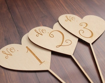 Heart Wedding Table Numbers Laser Engraved Rustic Wood Wedding Table Numbers #DownInTheBoondocks
