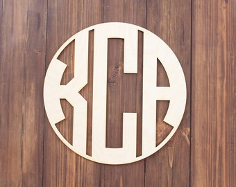 Circle Monogram Unfinished Wood Monogram Letter Wood Door Hanger Letters Wreath Letters Wood Letter Cutouts