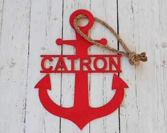 Anchor Monogram Wood Monogram Door Hanger Sign Monogram Sign Wreath Supplies Laser Cut Lettering